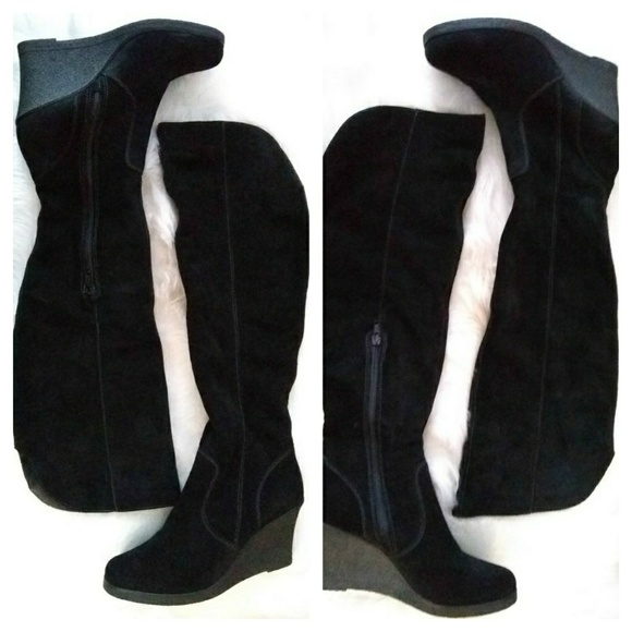 Aldo Shoes - Aldo knee high suede wedge boots sz 10 black